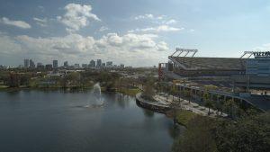 Aerial Image of Fountain at Park near Camping World Stadium in Orlando Florida